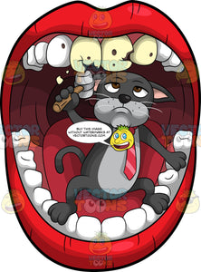 Cavity Cat Using A Hammer To Break Some Rotting Teeth. A grumpy looking black cat with a gray belly, wearing a red tie, standing inside a mouth and using a mallet to break off pieces of some rotting teeth