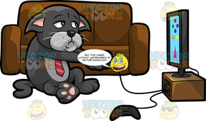 Cavity Cat Playing Video Games. A grumpy looking black cat with a gray belly, wearing a red tie, sitting on the floor of a living room and playing video games