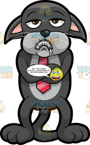 Cavity Cat With His Mouth Zipped Up. A black cat with a gray belly, wearing a red tie, standing with his arms crossed and a zipper over his mouth