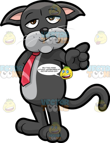 Cavity Cat Wagging His Finger In Disapproval. A black cat with a gray belly, wearing a red tie, standing and shaking his finger as if disapproving of something