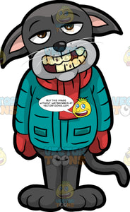 Cavity Cat Showing His Cavity Filled Teeth. A black cat wearing a winter jacket, a red scarf, and red mittens, opening his mouth to reveal his rotten teeth