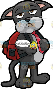 Cavity Cat Wearing A Backpack. A grumpy looking black cat with a gray belly, wearing a red tie and a red backpack, standing and waiting for someone