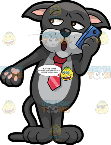 Cavity Cat Talking On A Cell Phone. A black cat with a gray belly, wearing a red tie, standing and speaking to someone on his cell phone