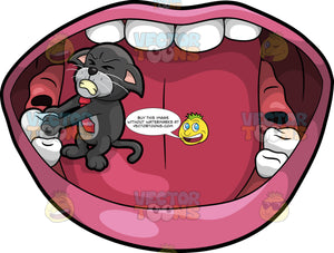 Cavity Cat Pulling A Tooth Out Of A Mouth. A black cat with a gray belly, wearing a red tie, standing inside a mouth and struggling to pull out a tooth with his paws