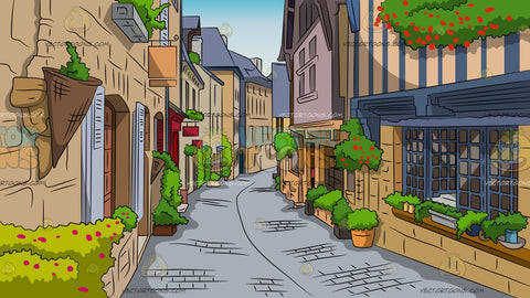 Charming European Street Background