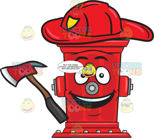 Cheerful Looking Firefighter Hydrant With Axe Emoji