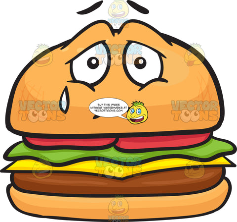 Cheeseburger Expressing Sadness With A Tear