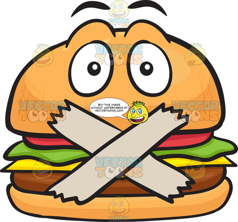 Cheeseburger With Taped Mouth