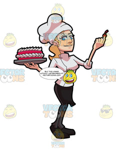 A Female Pastry Chef Decorating A Cake