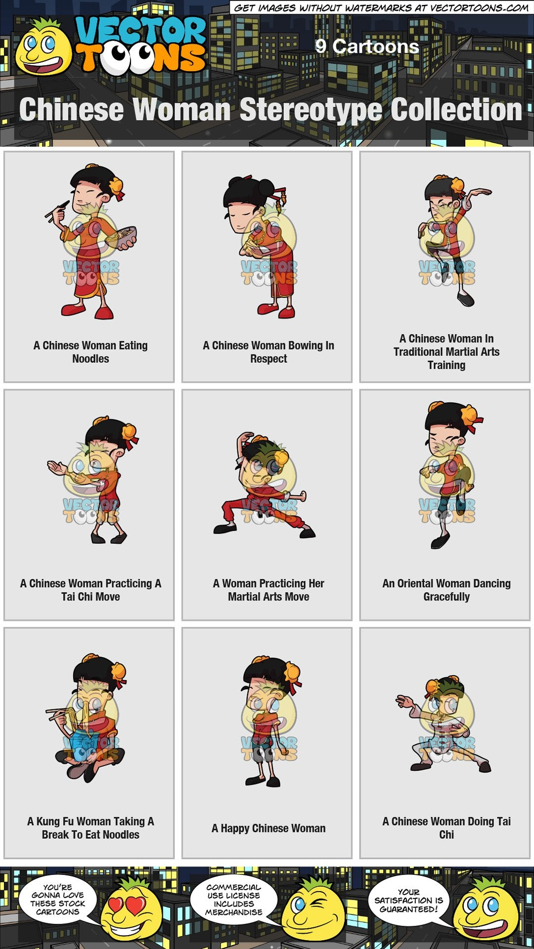 Chinese Woman Stereotype Collection – Clipart Cartoons By ...