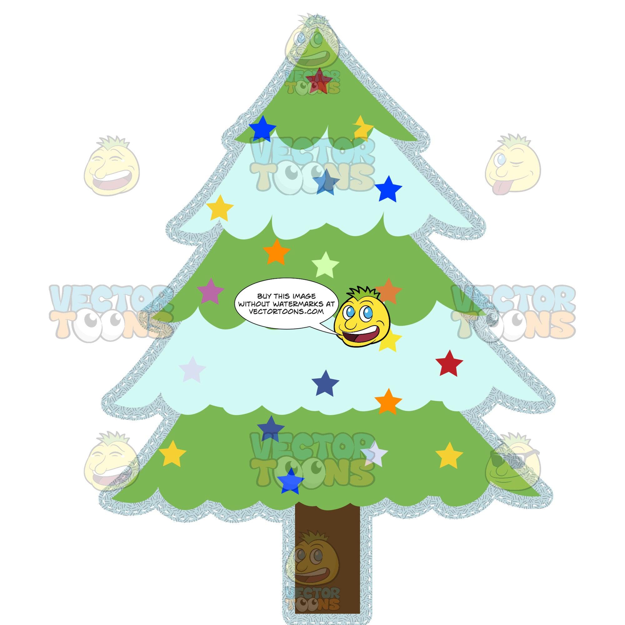 Green Christmas Tree Holiday Decoration With Multi Colored Star Ornaments And Heavy Glitter Outline