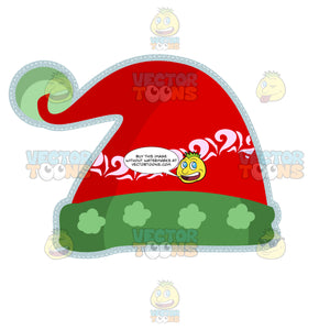 Red Santa Elf Cap With Green Trim And Pom-Pom
