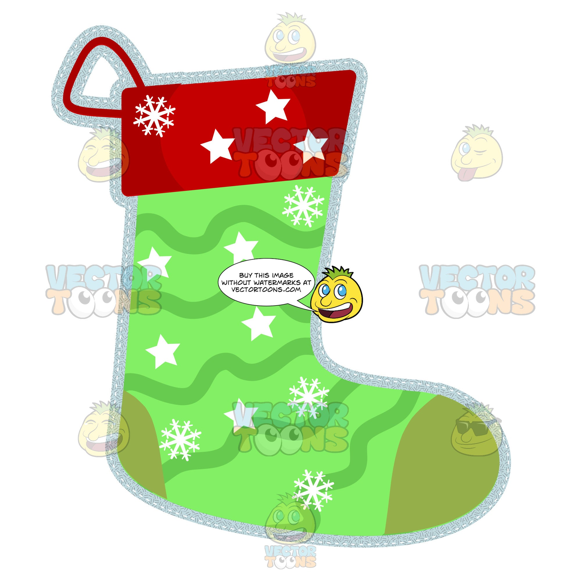 Green And Red Christmas Stocking With Star And Snowflake Pattern And Bold Silver Glitter Outline