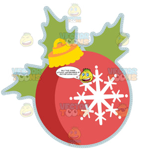 Red Ball Christmas Ornament With White Snowflake And Green Holley Leaves Tilting Left
