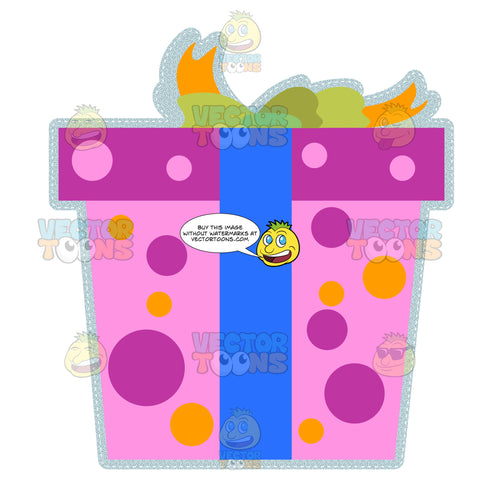 Pink And Purple Polka Dotted Pattern Wrapped Box Present With Green Bow