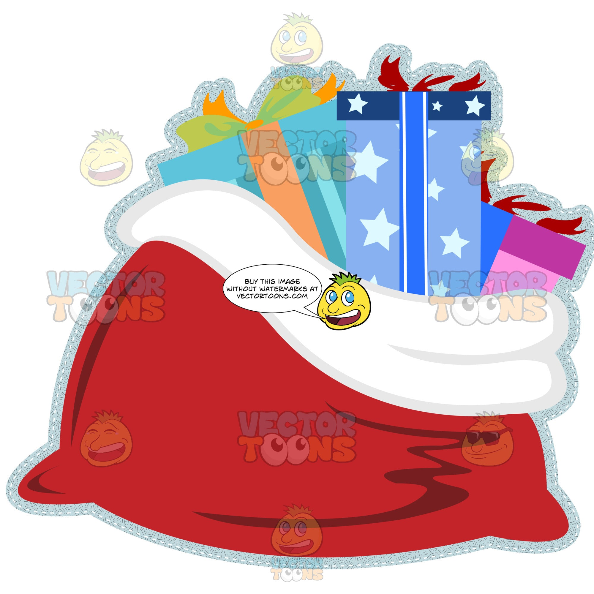 Red Bag Sack Filled With Boxed Gift Wrapped Christmas Presents