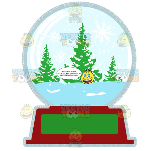 Snowglobe With Outdoors Winter Pine Tree Nature Scene On Red And Green Base