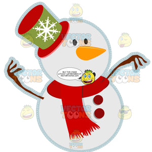 Smiling Face Snowman With Carrot Nose, Buttons, Red And Green Snowflake Top Hat, Red Scarf And Twig Tree Branch Arms