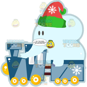 Light Blue Toy Elephant With Red And Green Stocking Santa Hat Rides In Blue Toy Train With Yellow Wheels