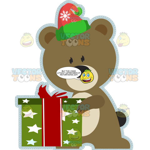 Teddy Bear Wearing Green And Red Santa Stocking Cap And Holding A Wrapped Boxed Present Gift