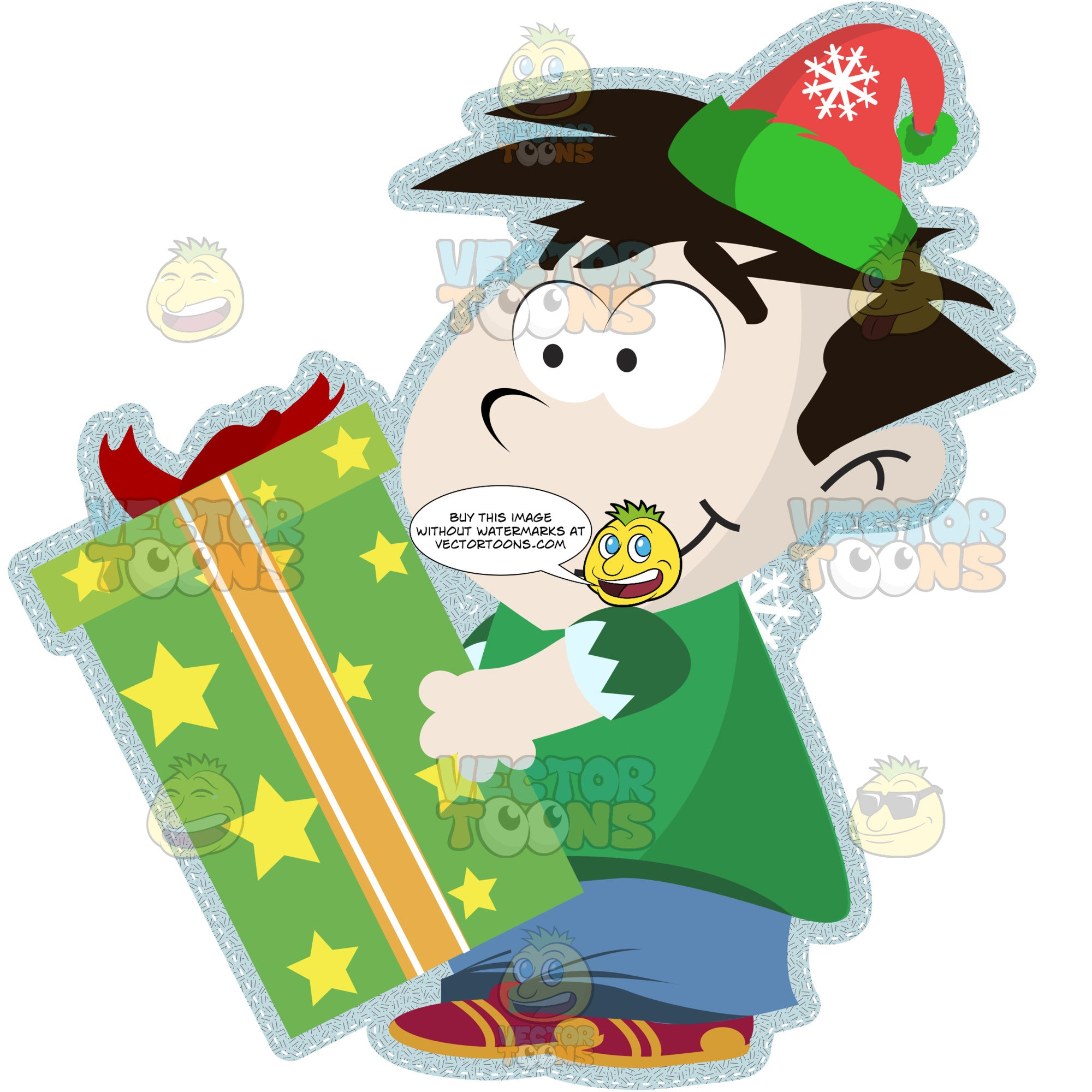 Young Little Boy With Black Hair Wearing Stocking Santa Cap And Holding Gift Wrapped Green Present Box Facing Left