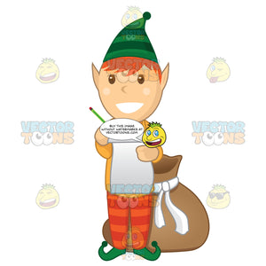 Christmas Elf With A Paper And Pencil In Hand And A Bag On The Floor Behind Him