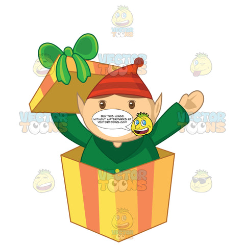 Christmas Elf Popping Up Out Of A Gift Box With A Bow On Top