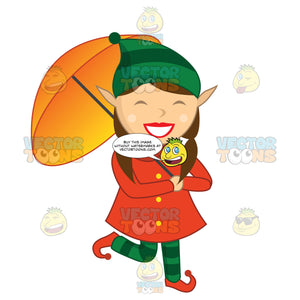 Female Elf With A Large Smile On Her Face While Holding An Umbrella And Walking