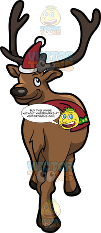 A Reindeer With A Santa Hat