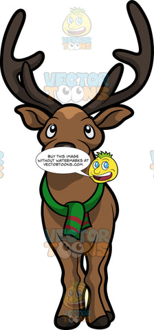 A Reindeer Wearing A Green Scarf