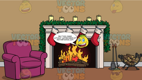Christmas Stockings Hanging Over A Fireplace Background. Four red and white Christmas stockings hanging over a fireplace with a green garland and candles on top, and fire burning