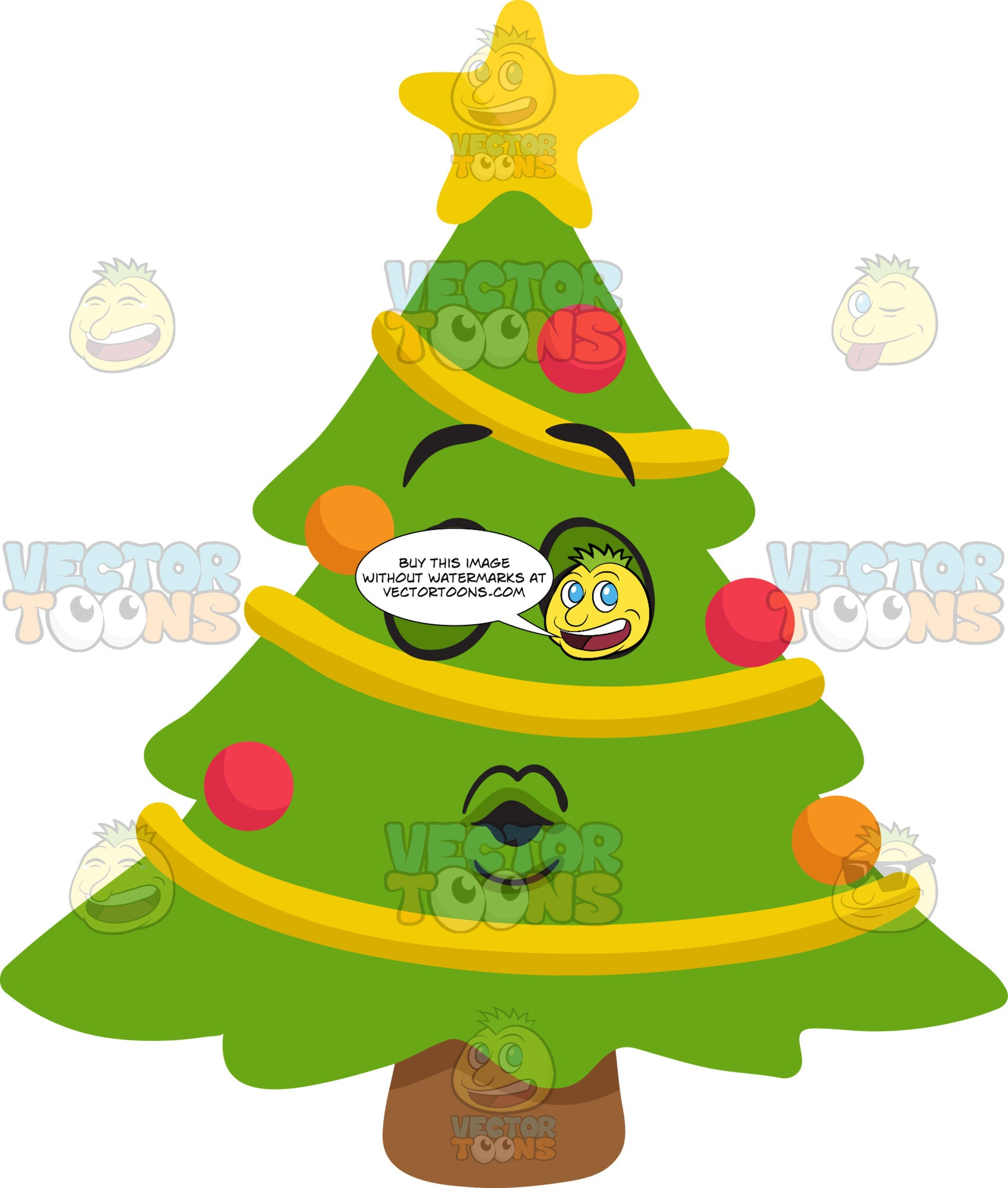 A Christmas Tree Blowing Kisses Clipart Cartoons By Vectortoons