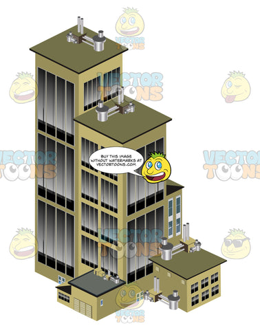Beige Multi-Towered Skyscraper Building With Tall Windows, Multiple Levels Attached