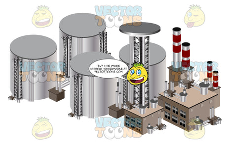 Multiple Industrial Manufacturing Chemical Refinery With Drums And Buildings With Smokestacks