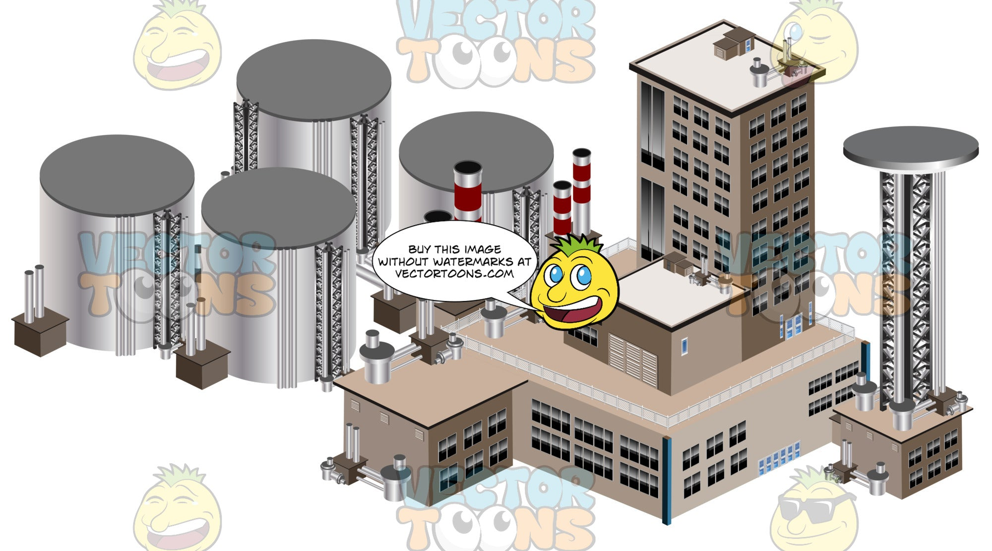 Larger Industrial Manufacturing Plant With Chemical Drums And Larger Tower Buildings With Smokestacks