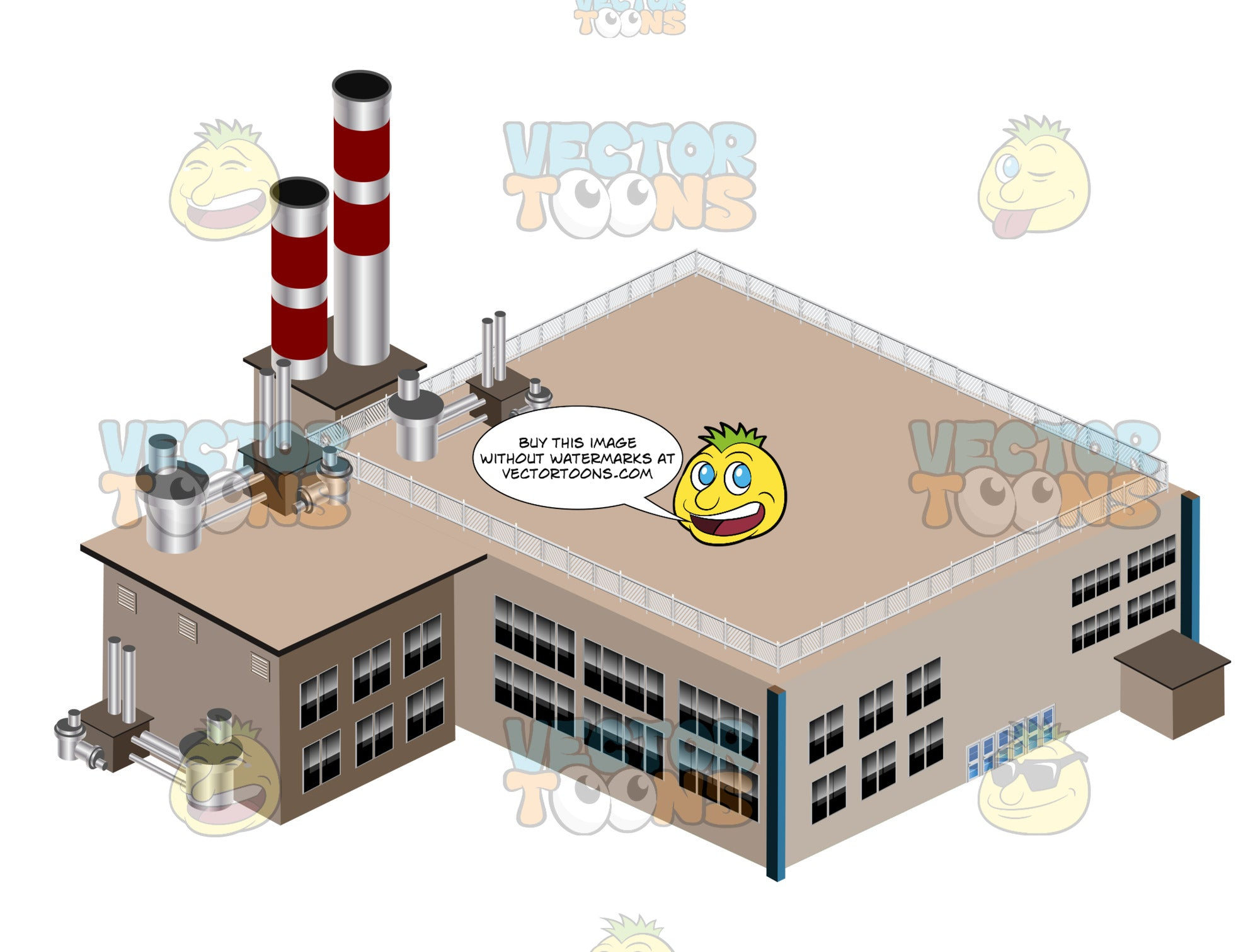 Two-Story, Brown Industrial Factory, Plant With Smokestacks