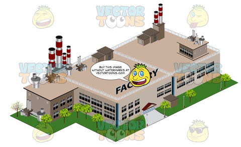 Large Factory Building With Smoke Stacks On Top