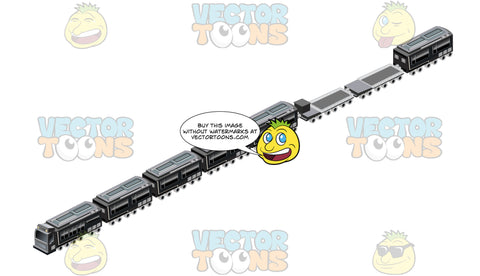 Black Train With Cargo And Flatbed Cars