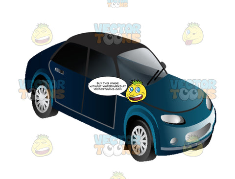 Blue Four Door Sedan Car Auto With Black Top