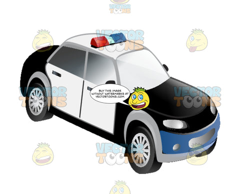 Black And White Generic Police Copt Car With Blue And Red Lights