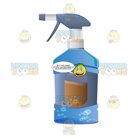 Blue Spray Bottle With Cleaning Solution Inside