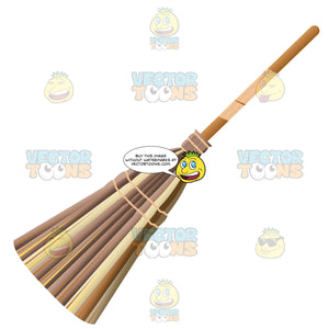 Wooden Broom With Straw Bristles