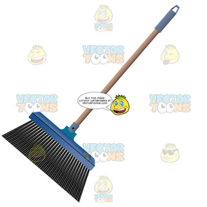 Broom With Brown Handle And Black Bristles