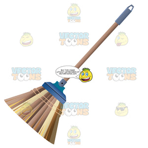 Brown Broom With Straw Or Wicker Bristles