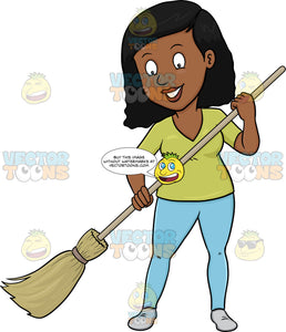 A Black Woman Cheerfully Cleans The Floor Using A Broom