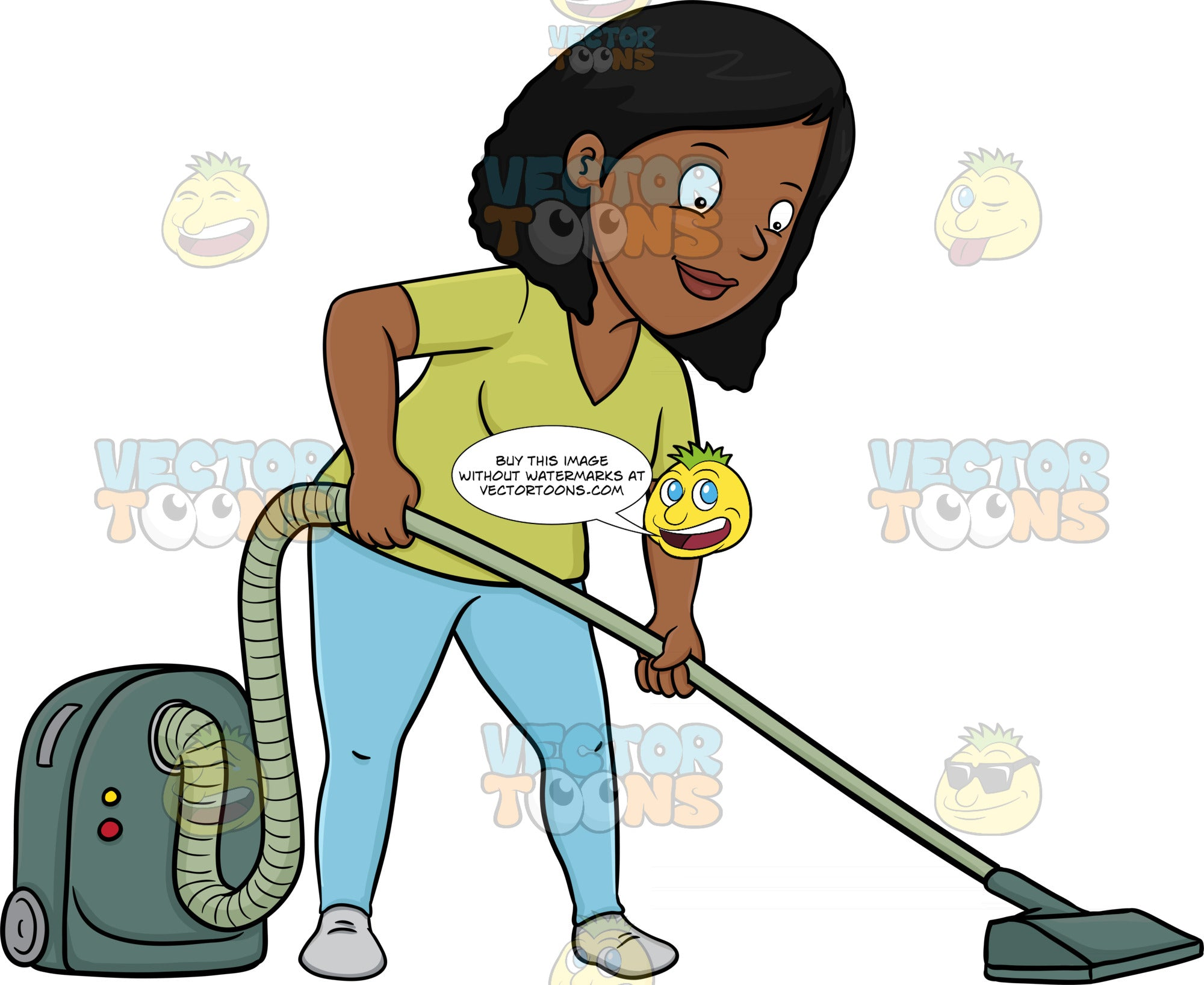 A Black Woman Using A Vacuum Cleaner To Sanitize The Floor