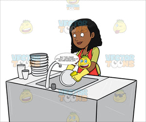 A Black Woman Washing The Dishes