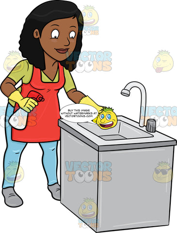 A Black Woman Trying To Polish A Kitchen Sink