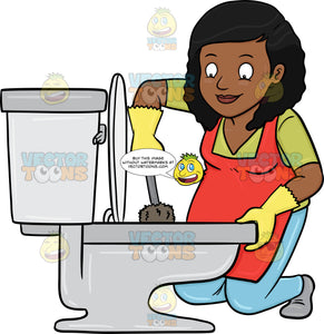 A Black Woman Cleaning A Toilet