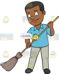 A Black Man Cheerfully Cleans The Floor Using A Broom